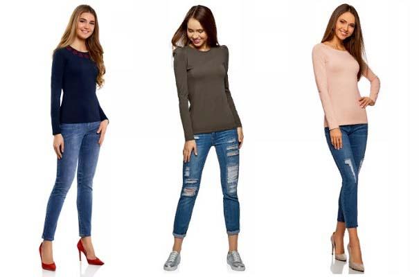 Женский лонгслив с джинсами фото