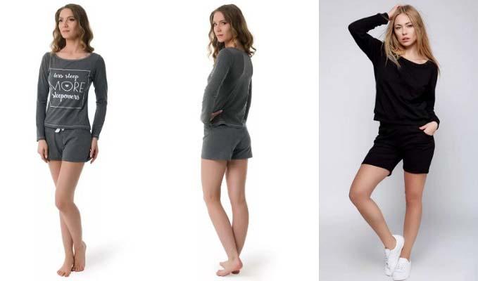 Женский лонгслив с шортами фото