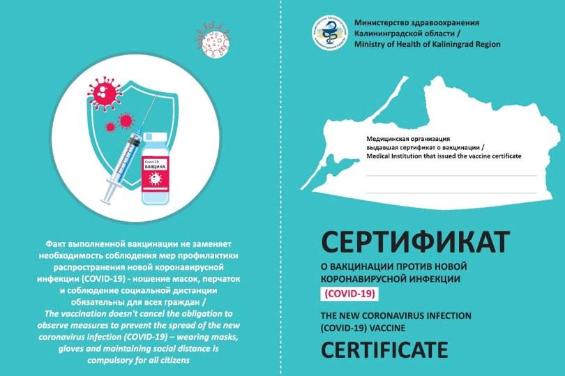 Бумажный сертификат о вакцинации от коронавируса в Калининградской области фото