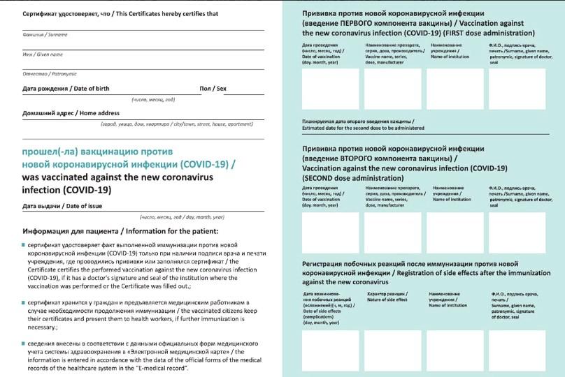 Бумажный сертификат о вакцинации от коронавируса в Калининградской области внутренняя часть фото